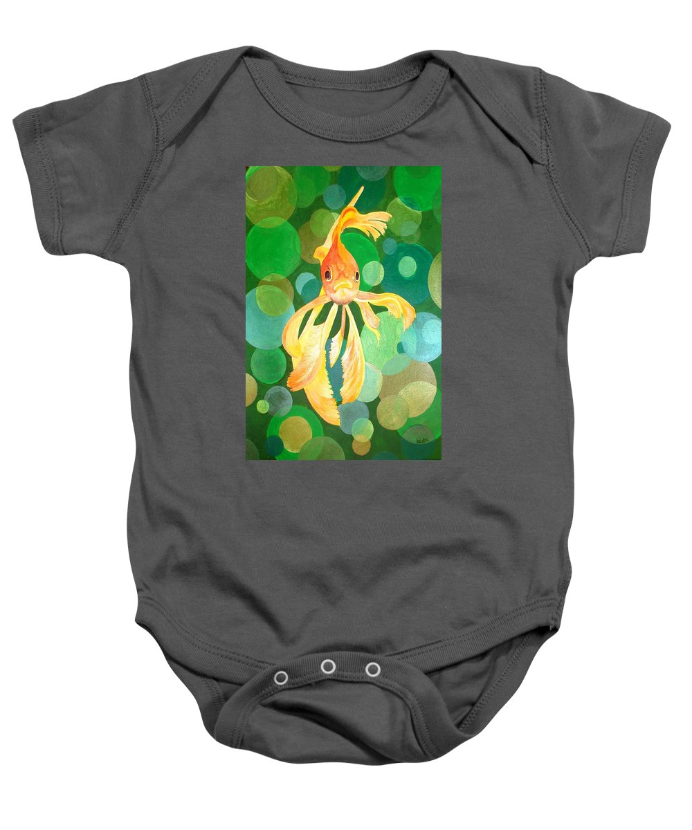 Fantail Baby Onesie featuring the painting Vermilion Goldfish by Taiche Acrylic Art