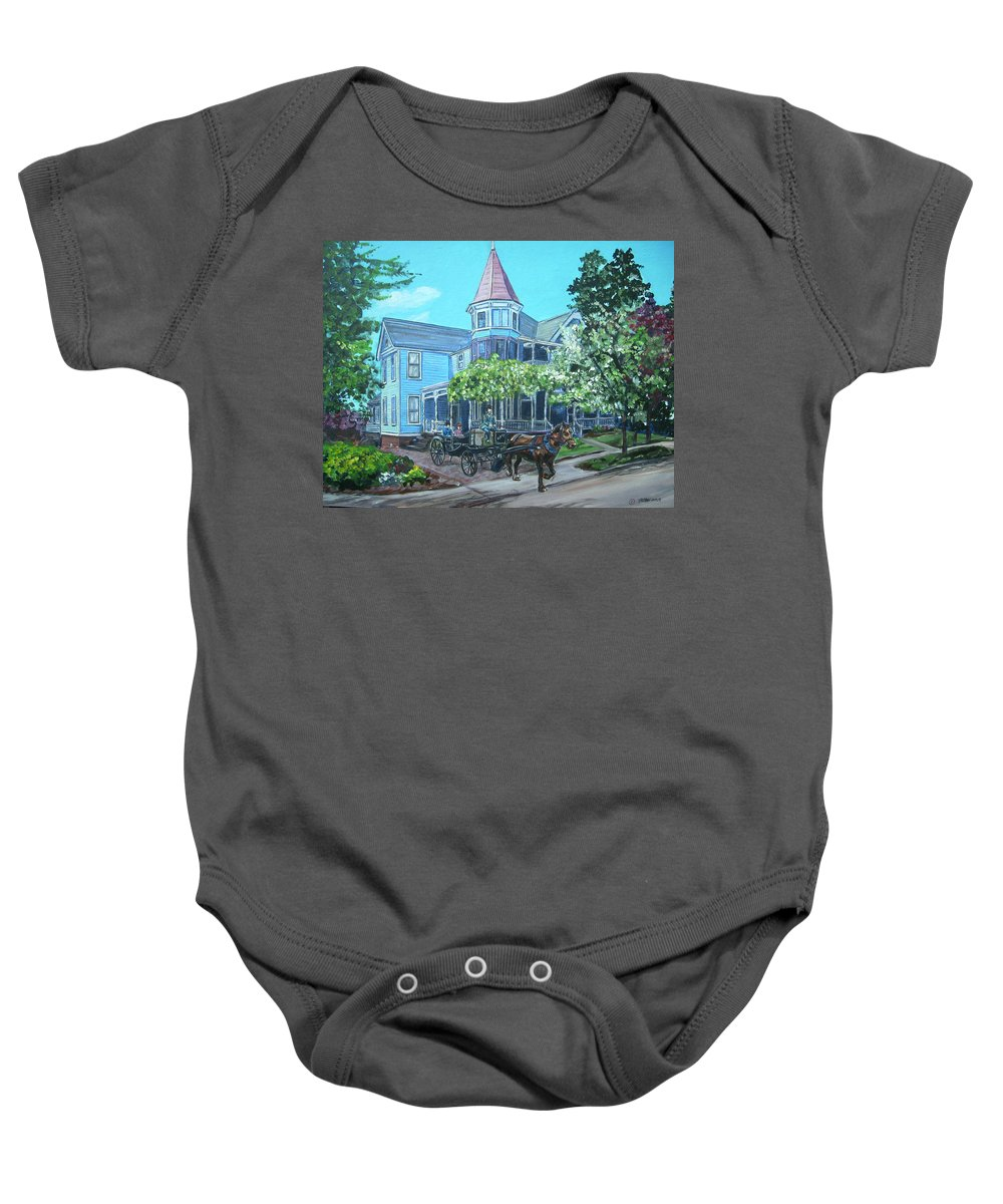 Victorian Baby Onesie featuring the painting Victorian Greenville by Bryan Bustard