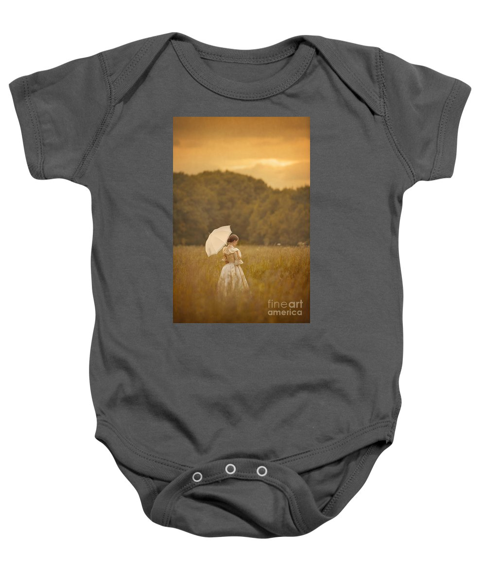 Victorian Baby Onesie featuring the photograph Victorian Woman In A Summer Meadow by Lee Avison