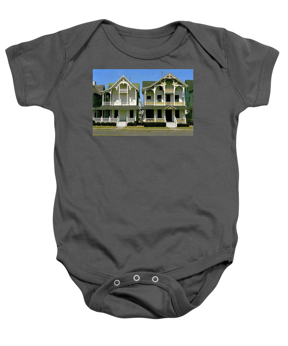 Victorian Homes Baby Onesie featuring the photograph Victorians At Ocean Grove New Jersey by Ira Shander