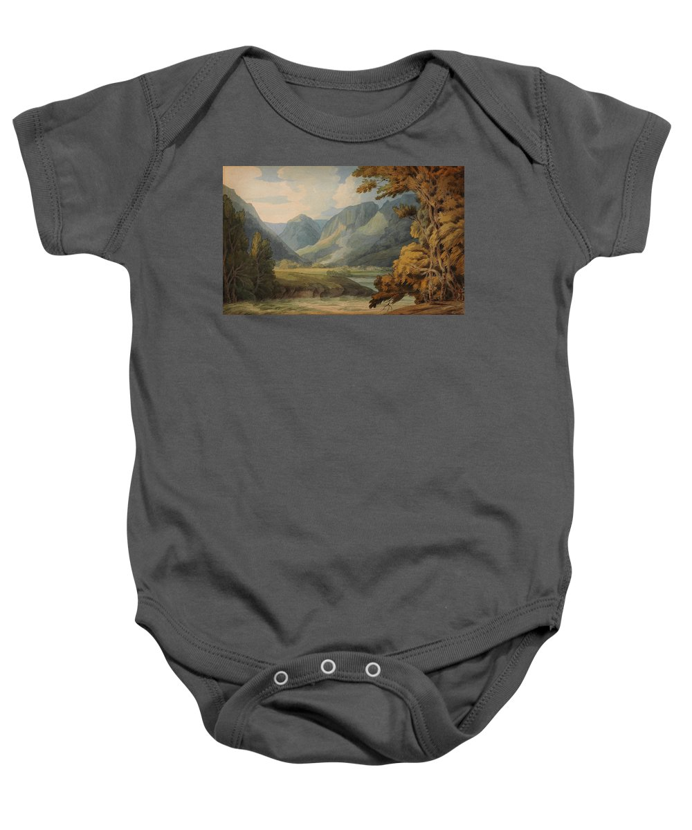 Francis Towneview In Borrowdale Of Eagle Crag And Rosthwaite Baby Onesie featuring the painting View In Borrowdale Of Eagle Crag And Rosthwaite by Celestial Images