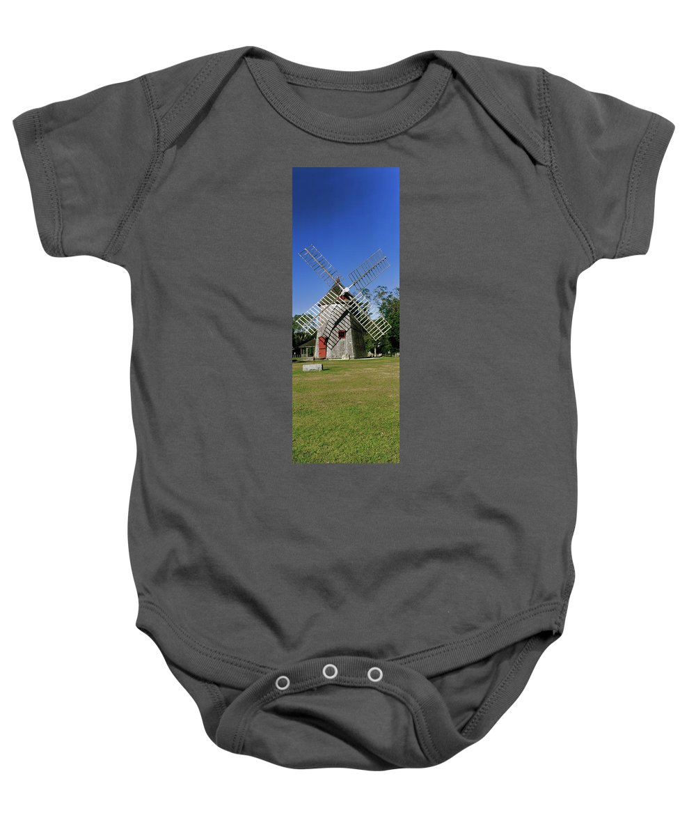 Photography Baby Onesie featuring the photograph View Of Eastham Windmill, Eastham, Cape by Panoramic Images