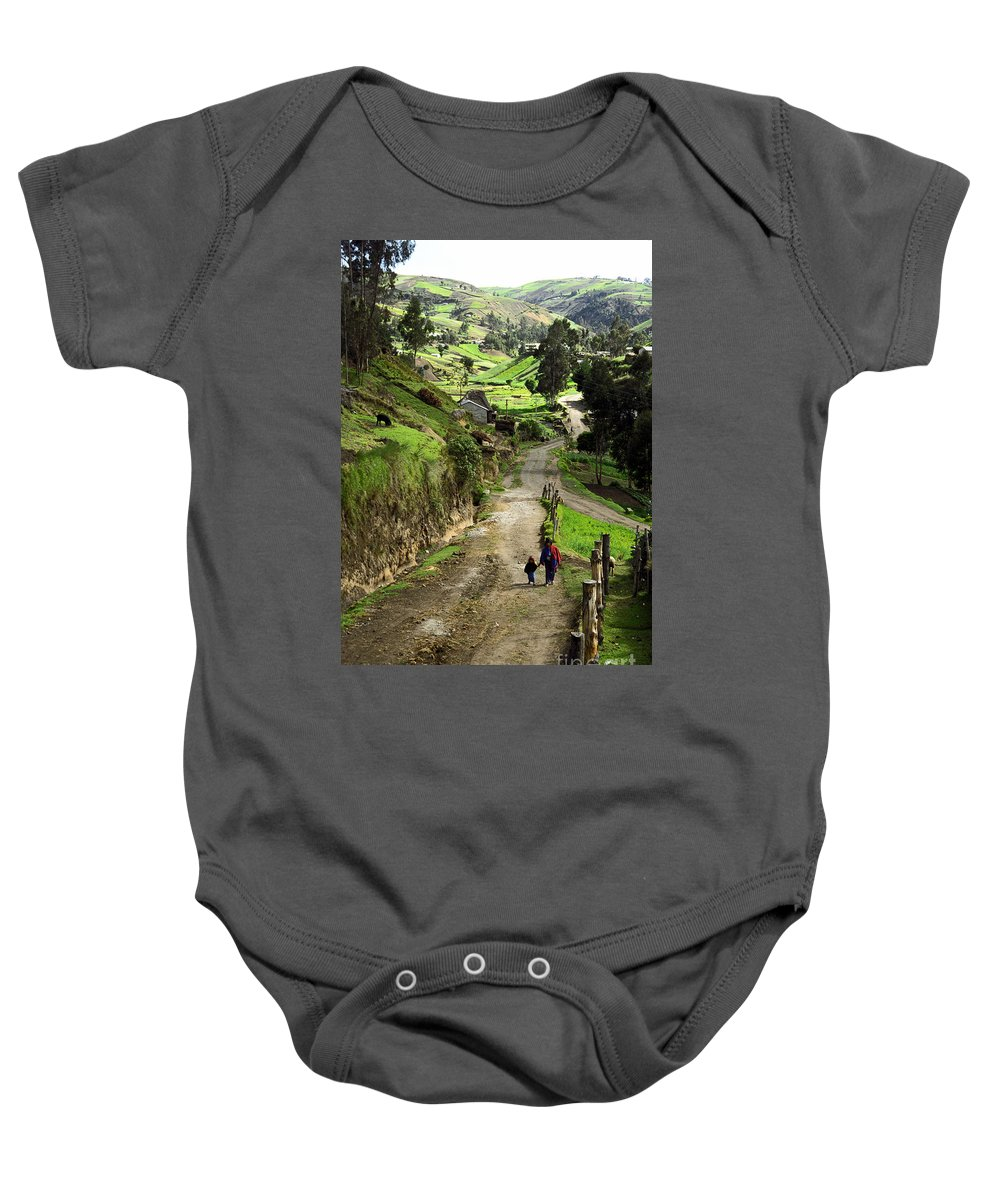 Ecuador Baby Onesie featuring the photograph View Of Lupaxi by Kathy McClure