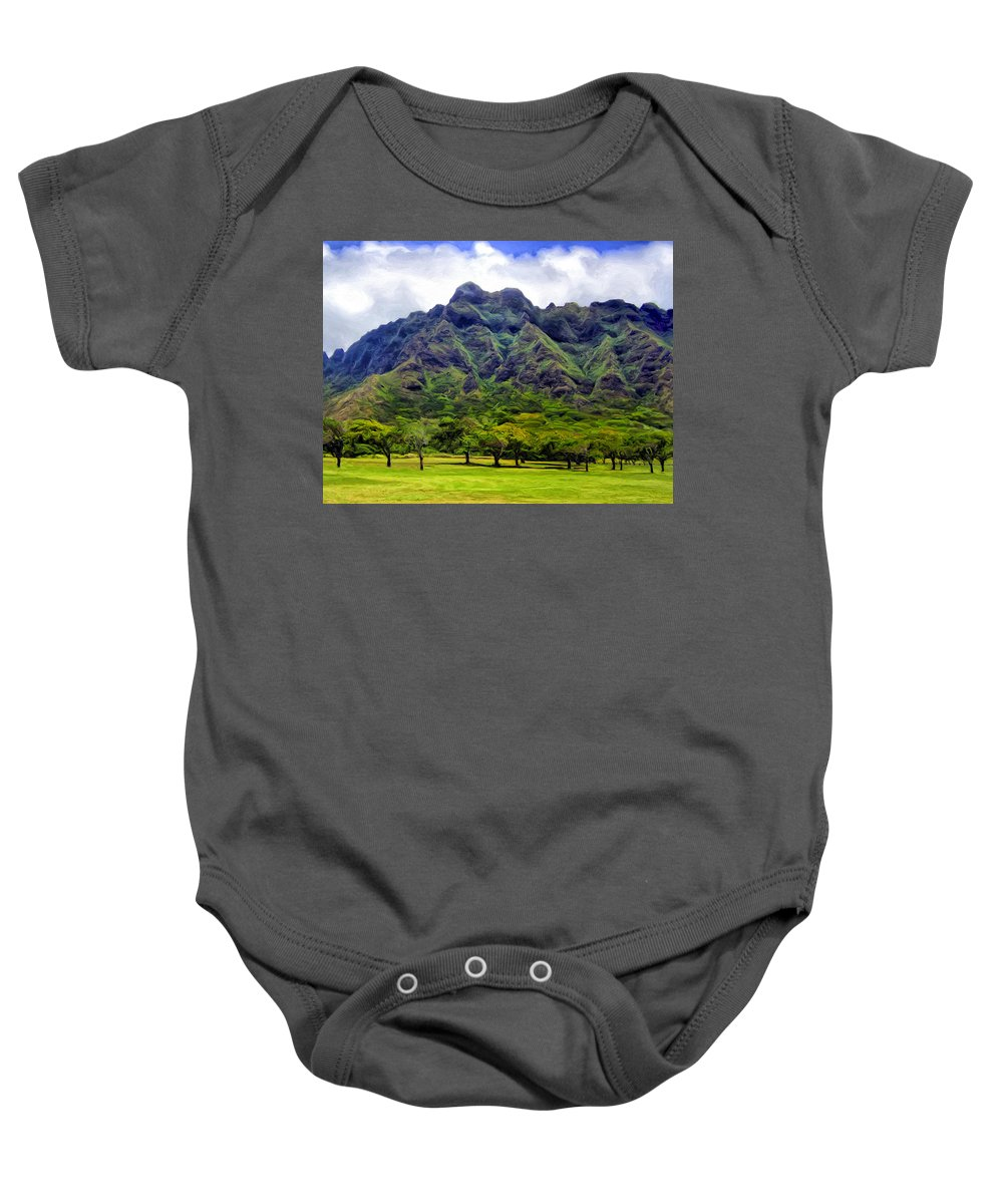 Mountains Baby Onesie featuring the painting View Of The Koolau Range by Dominic Piperata