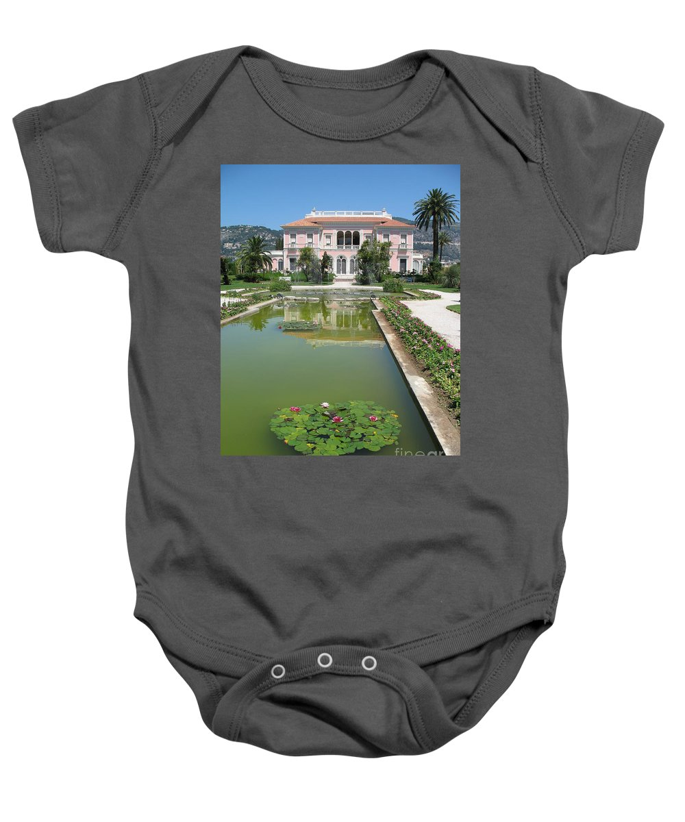 Villa Baby Onesie featuring the photograph Villa Ephrussi De Rothschild With Reflection by Christiane Schulze Art And Photography