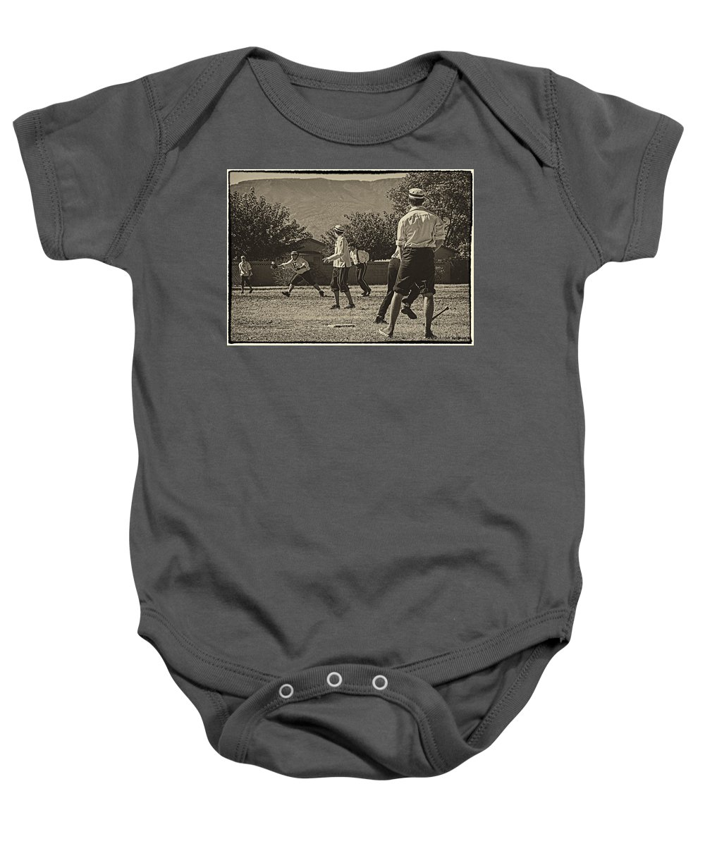 Vintage Baseball Baby Onesie featuring the photograph Vintage Baseball by Priscilla Burgers