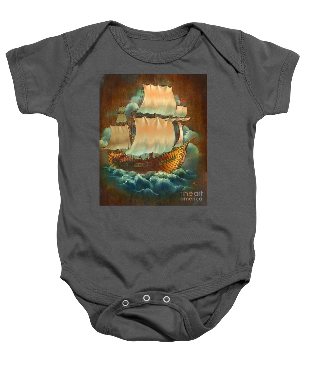 Oil Baby Onesie featuring the painting Vintage Sail On Wood by Doreta Y Boyd