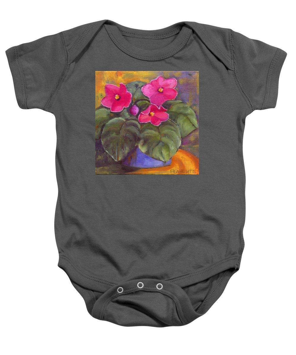Violet Baby Onesie featuring the painting Violets by Kathy Flaherty