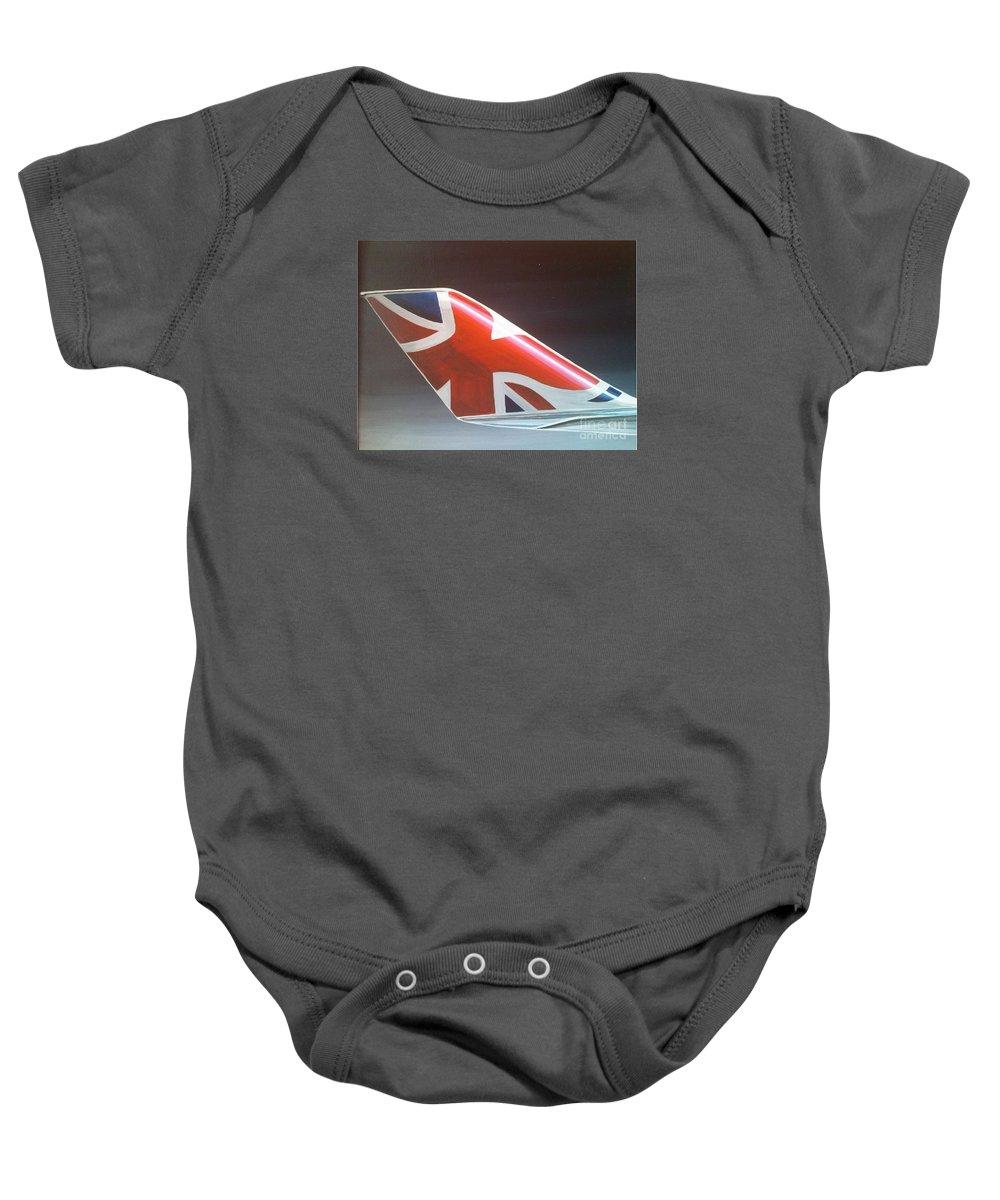 Virgin Baby Onesie featuring the painting Virgin Atlantic Winglet by Richard John Holden RA