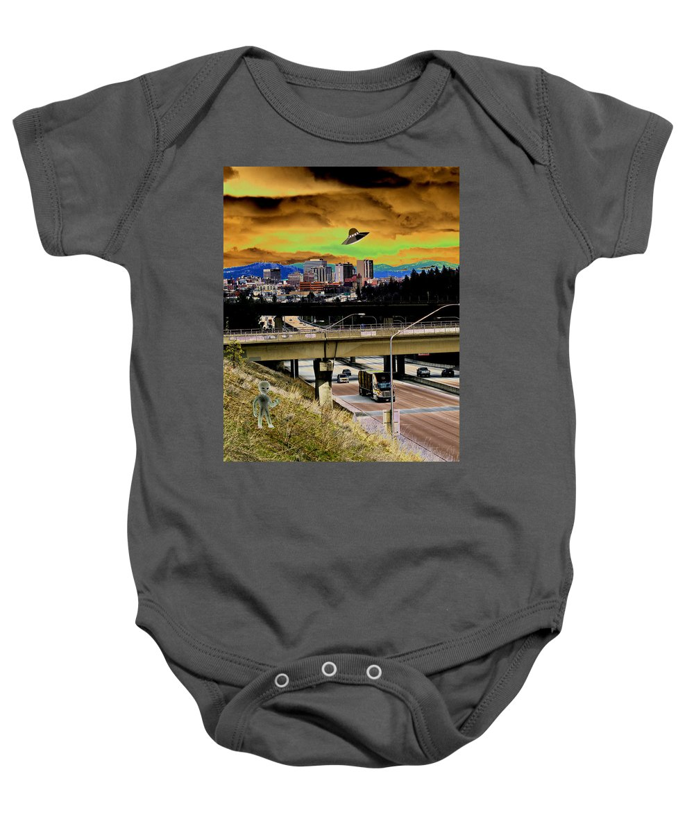 Aliens Baby Onesie featuring the photograph Visiting Spokane by Ben Upham III
