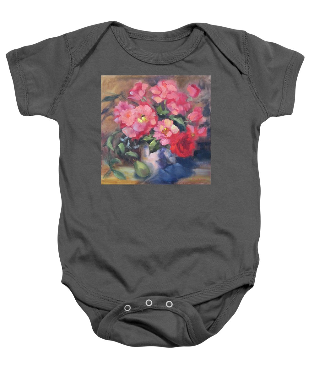Roses Baby Onesie featuring the painting Vivacious Roses by Karin Leonard