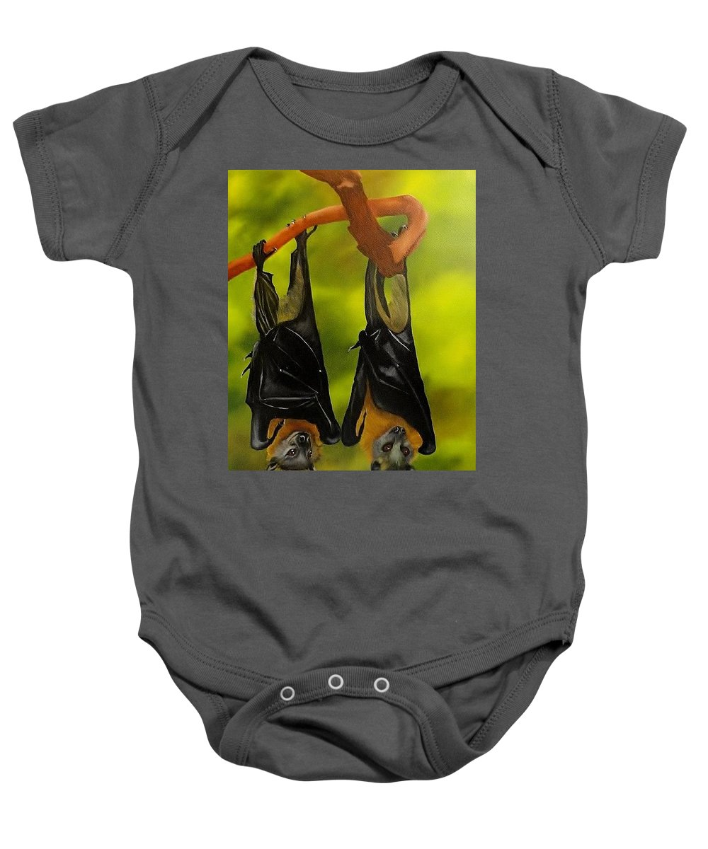 Fruit Bat Baby Onesie featuring the painting Vlad And Betty by Carol Avants