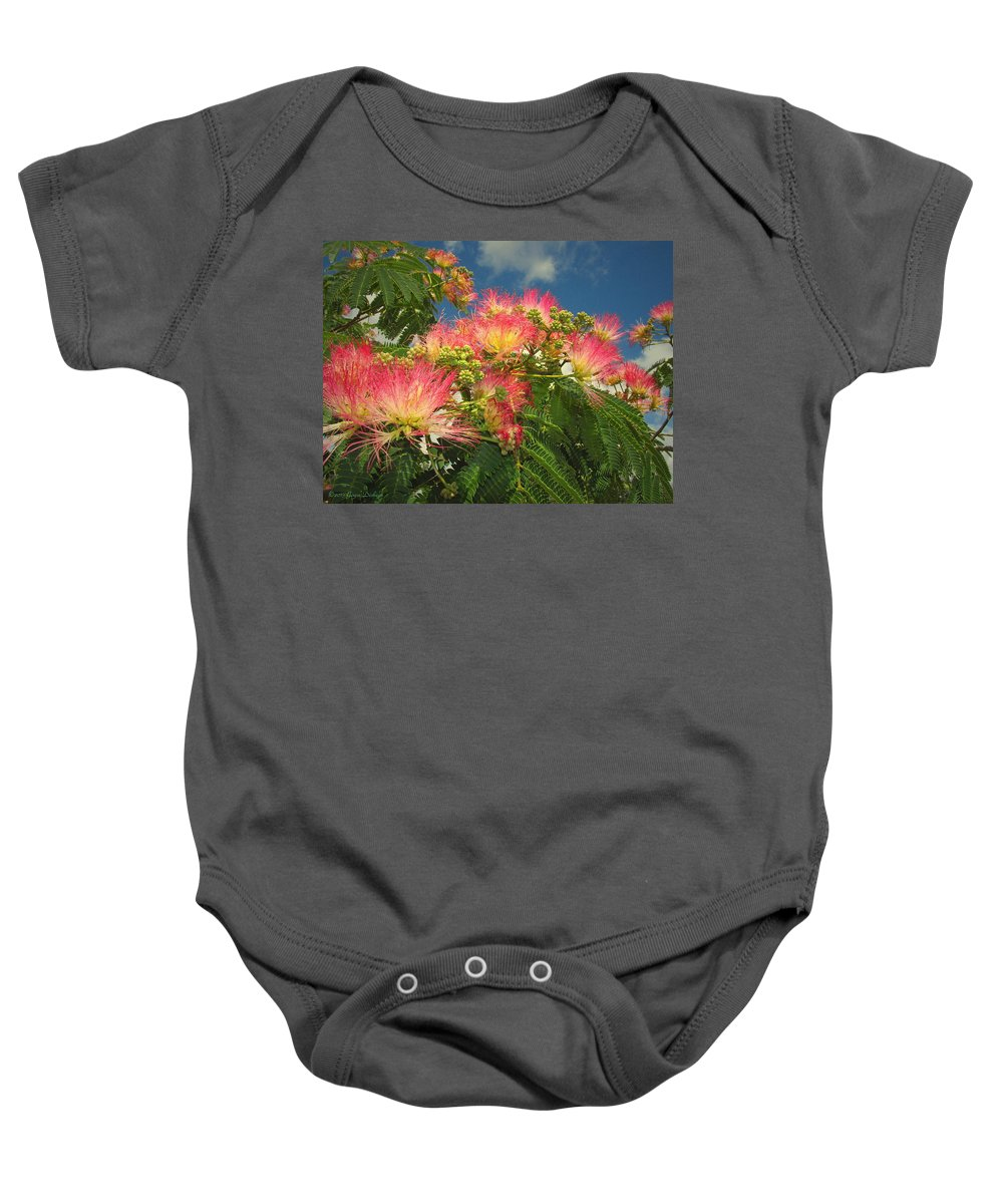 Mimosa Baby Onesie featuring the photograph Voluntary Mimosa Tree by Joyce Dickens