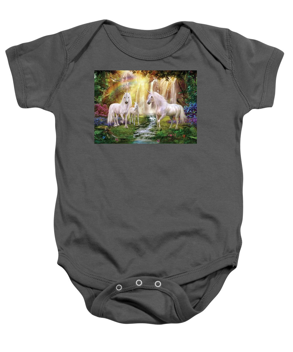 Unicorn Baby Onesie featuring the photograph Waaterfall Glade Unicorns by MGL Meiklejohn Graphics Licensing