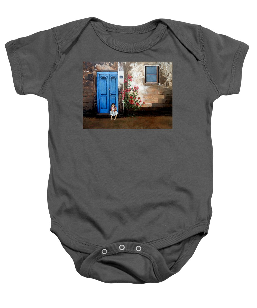 Waiting Baby Onesie featuring the painting Waiting For Dad by Amani Al Hajeri