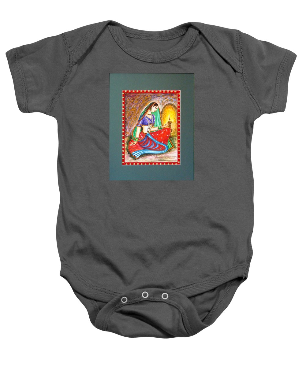 Abstract Baby Onesie featuring the painting Waiting by Harsh Malik