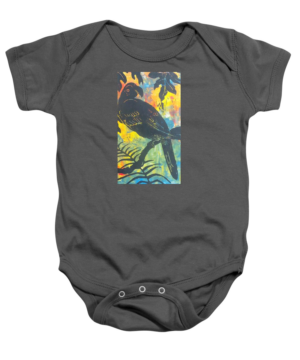 Tropical Baby Onesie featuring the painting In Paradise by Judy Joseph-Mungal