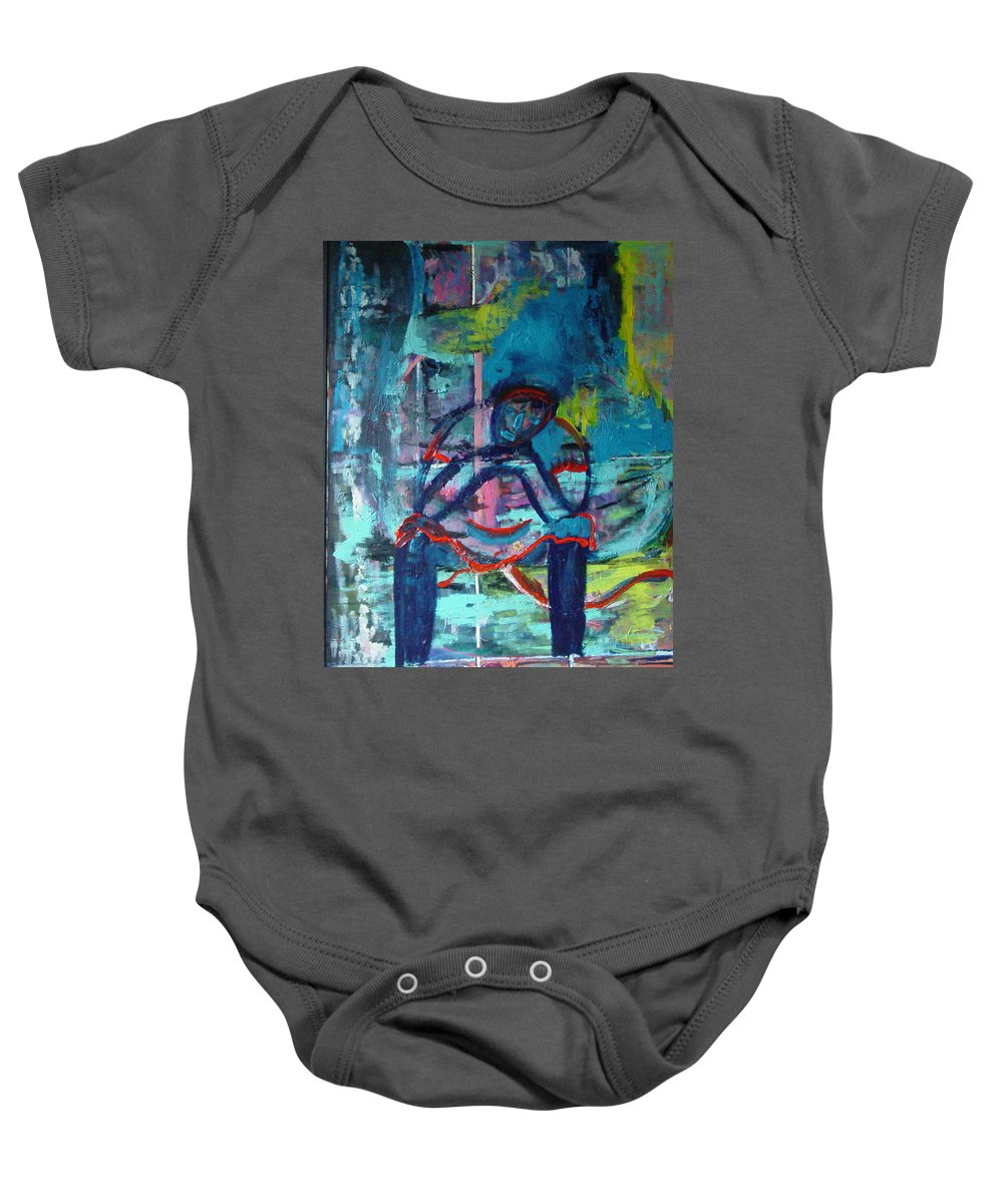 Woman On Bench Baby Onesie featuring the painting Waiting by Peggy Blood
