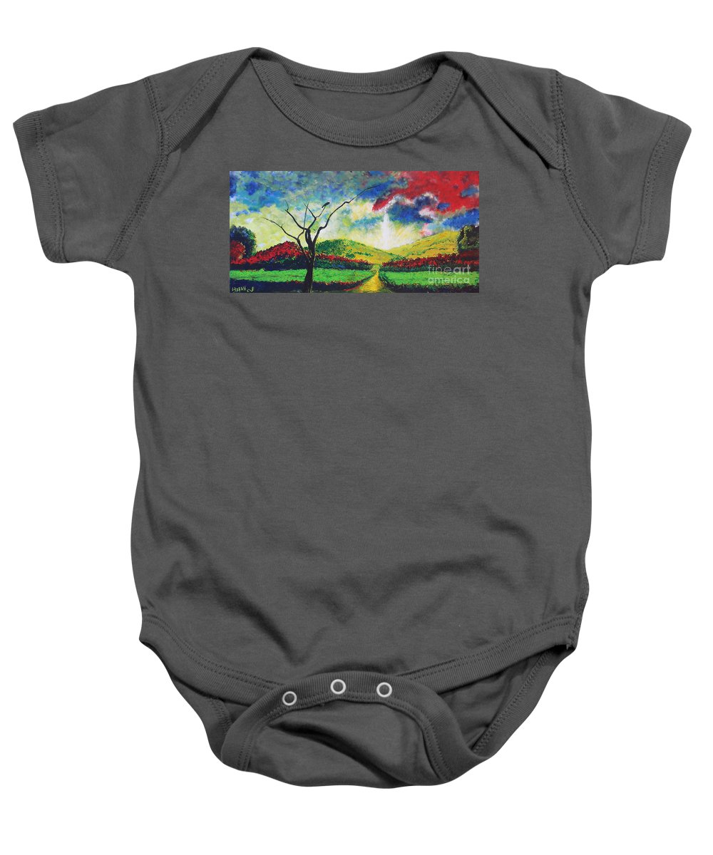 Landscape Baby Onesie featuring the painting Waiting by Stefan Duncan