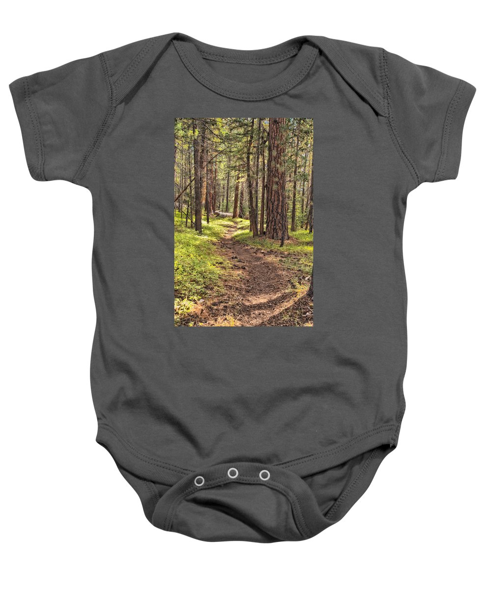 John Muir Trail Baby Onesie featuring the photograph Walk In The Woods by Shauna Milton