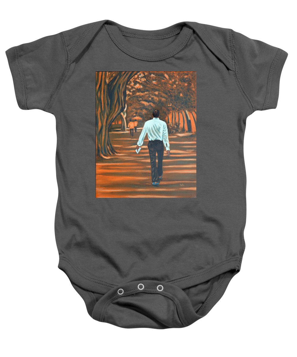 Usha Baby Onesie featuring the painting Walk In The Woods by Usha Shantharam