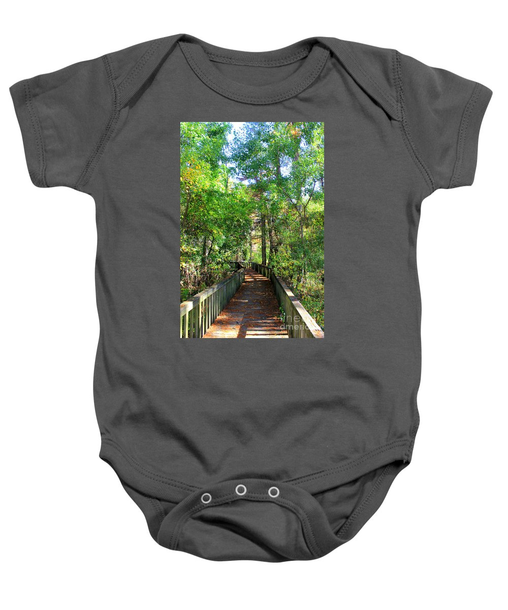 Cross Lake Baby Onesie featuring the photograph Walk This Way by Kathy White
