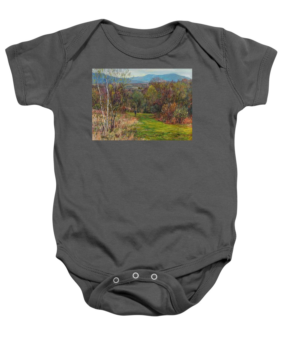 Walking Baby Onesie featuring the painting Walking Through The Woods In Spring by Galina Gladkaya