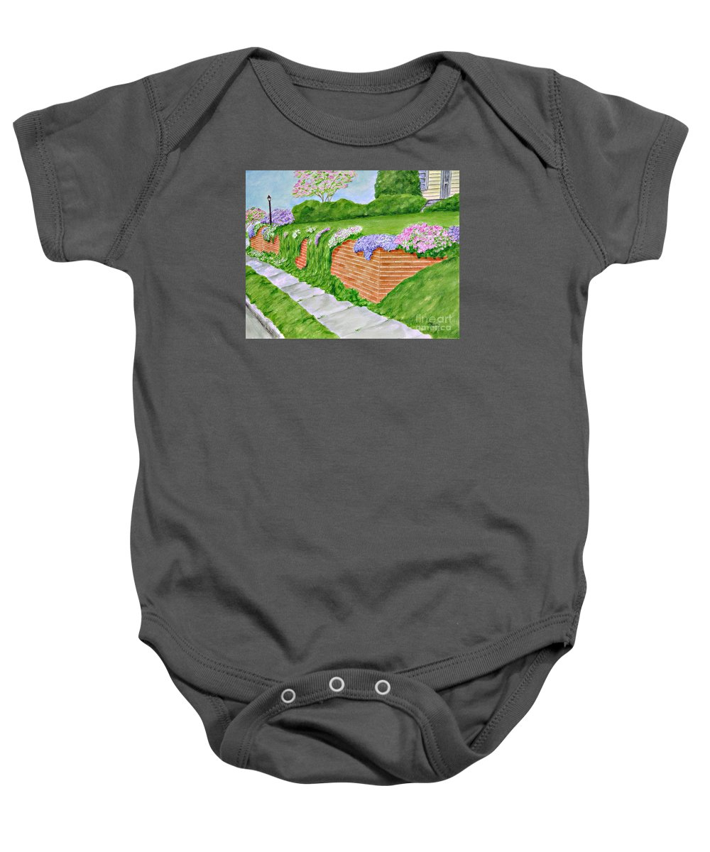 Landscape Baby Onesie featuring the painting Wall Of Flowers by Regan J Smith