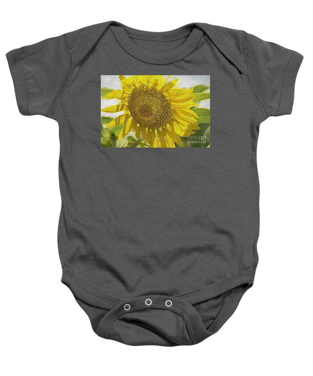 Warmth Upon My Back - Sunflower Baby Onesie featuring the photograph Warmth Upon My Back - Sunflower by Maria Urso
