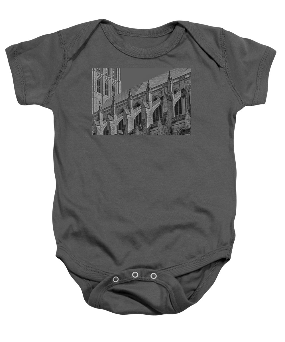 B&w Baby Onesie featuring the photograph Washington National Cathedral Bw by Susan Candelario