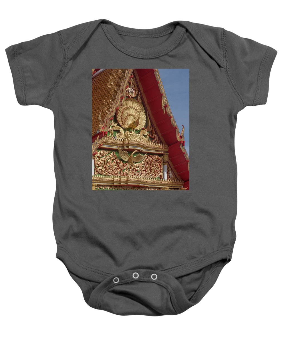 Scenic Baby Onesie featuring the photograph Wat Luang Pu Supa Ubosot Gable Dthp330 by Gerry Gantt