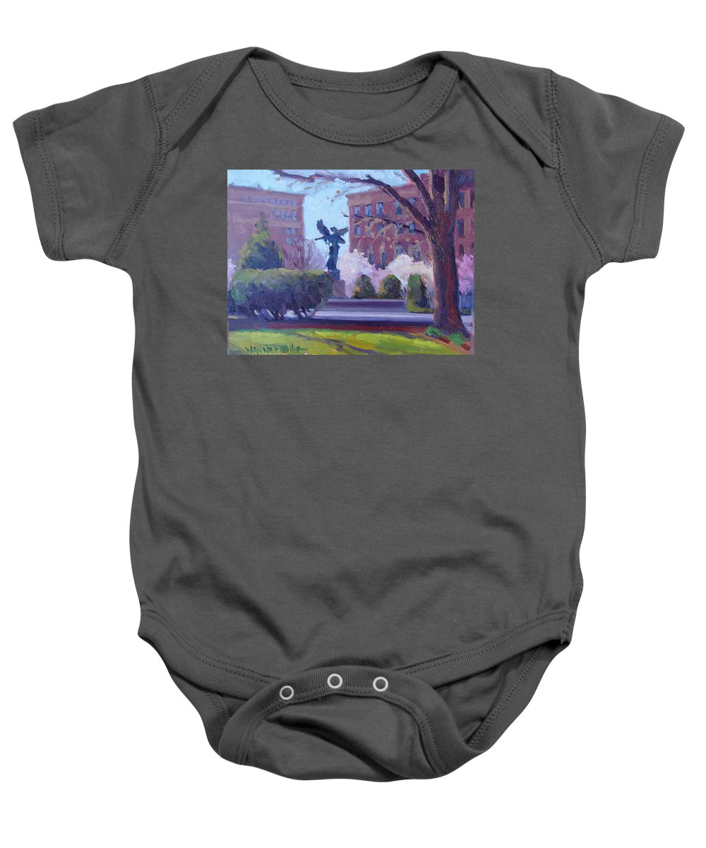 Boston Baby Onesie featuring the painting Watching Over Me by Dianne Panarelli Miller