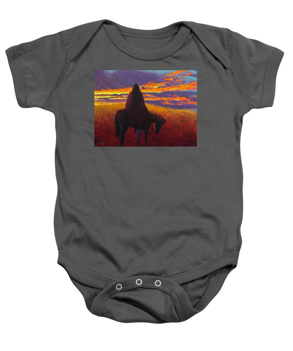 Native American Indian Baby Onesie featuring the painting Watching The Magic by Joe Triano