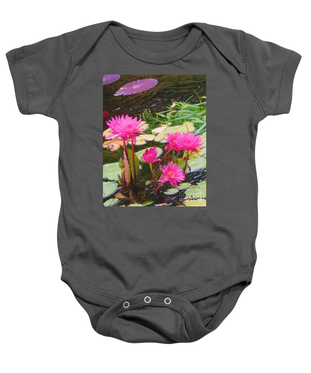 Water Lilies Baby Onesie featuring the photograph Water Lilies 009 by Robert ONeil