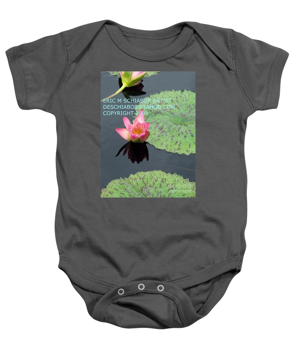 Water Lilies Baby Onesie featuring the photograph Water Lilies Orange Pink by Eric Schiabor