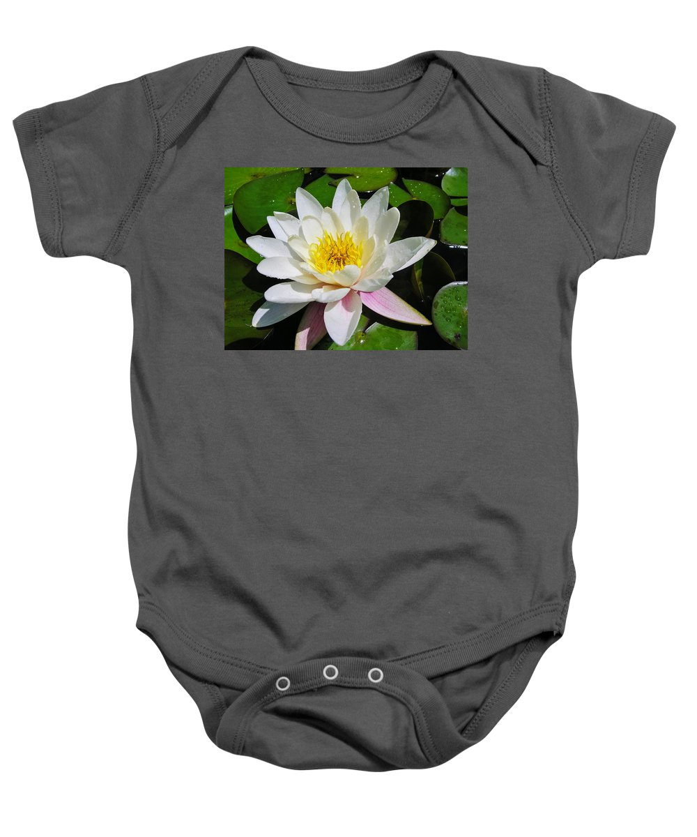 Water Lily Baby Onesie featuring the photograph Water Lily Blossom by Sherman Perry