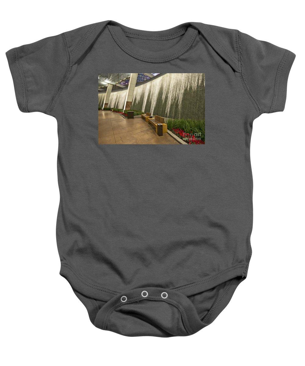 Aria Resort Baby Onesie featuring the photograph Water Wall - Aria Resort Las Vegas by Jamie Pham
