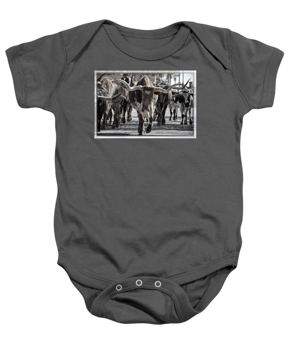 Joan Carroll Baby Onesie featuring the photograph Watercolor Longhorns by Joan Carroll