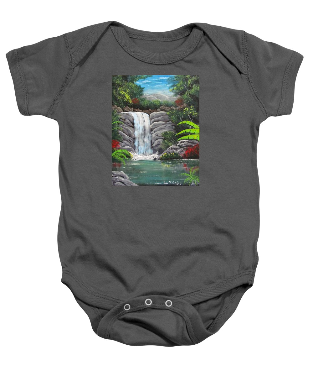 Waterfall Baby Onesie featuring the painting Waterfall Fantasy by Luis F Rodriguez
