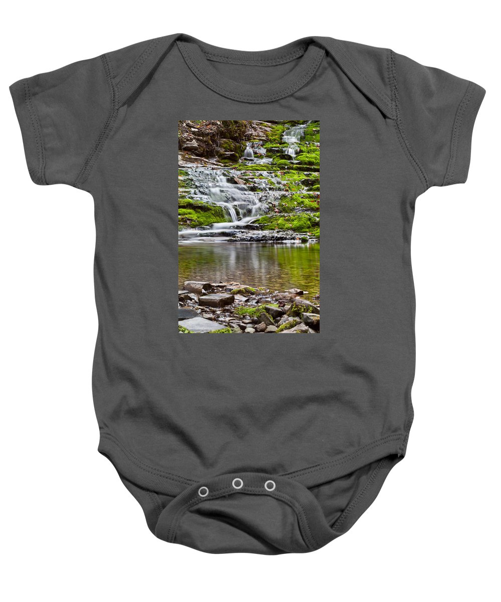 Beautiful Baby Onesie featuring the photograph Waterfall In The Forest In Autumn Season by U Schade