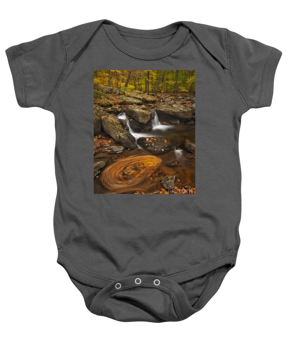 Autumn Baby Onesie featuring the photograph Waterfalls And Swirl by Susan Candelario