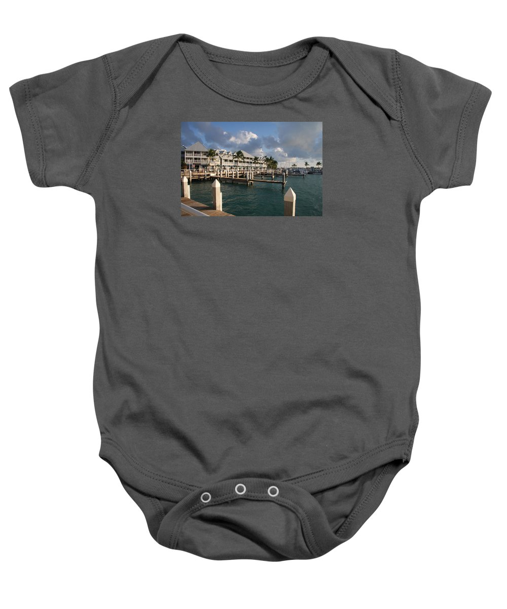 Bayfront Baby Onesie featuring the photograph Waterfront Key West by Christiane Schulze Art And Photography