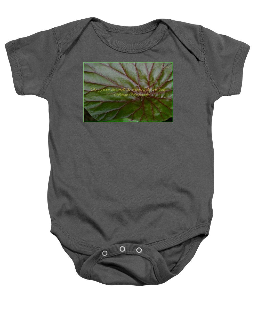 Leaf Macro Baby Onesie featuring the photograph Waterlily Leaf Macro by Sonali Gangane