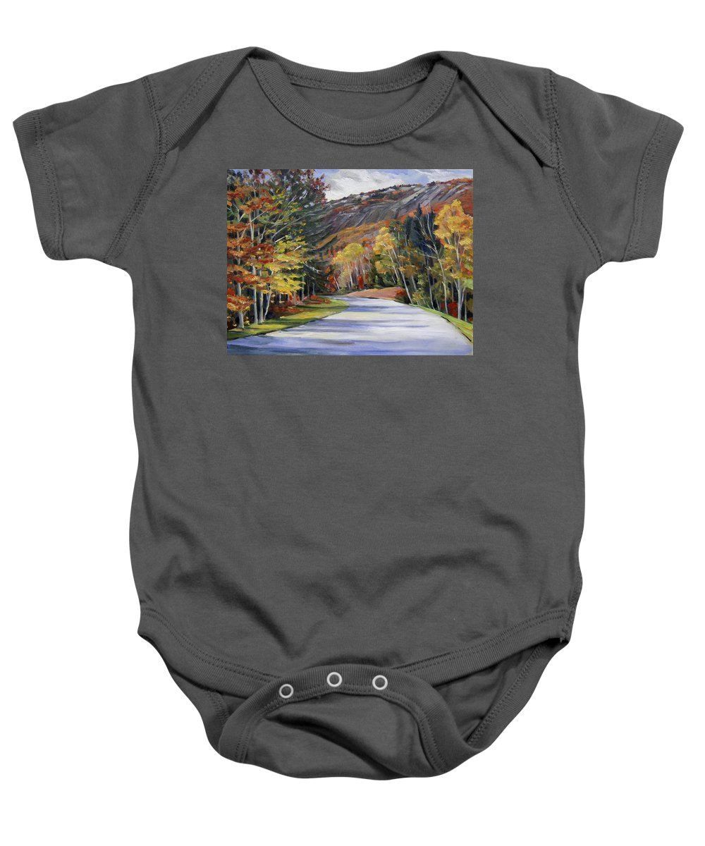 White Mountain Art Baby Onesie featuring the painting Waterville Road New Hampshire by Nancy Griswold