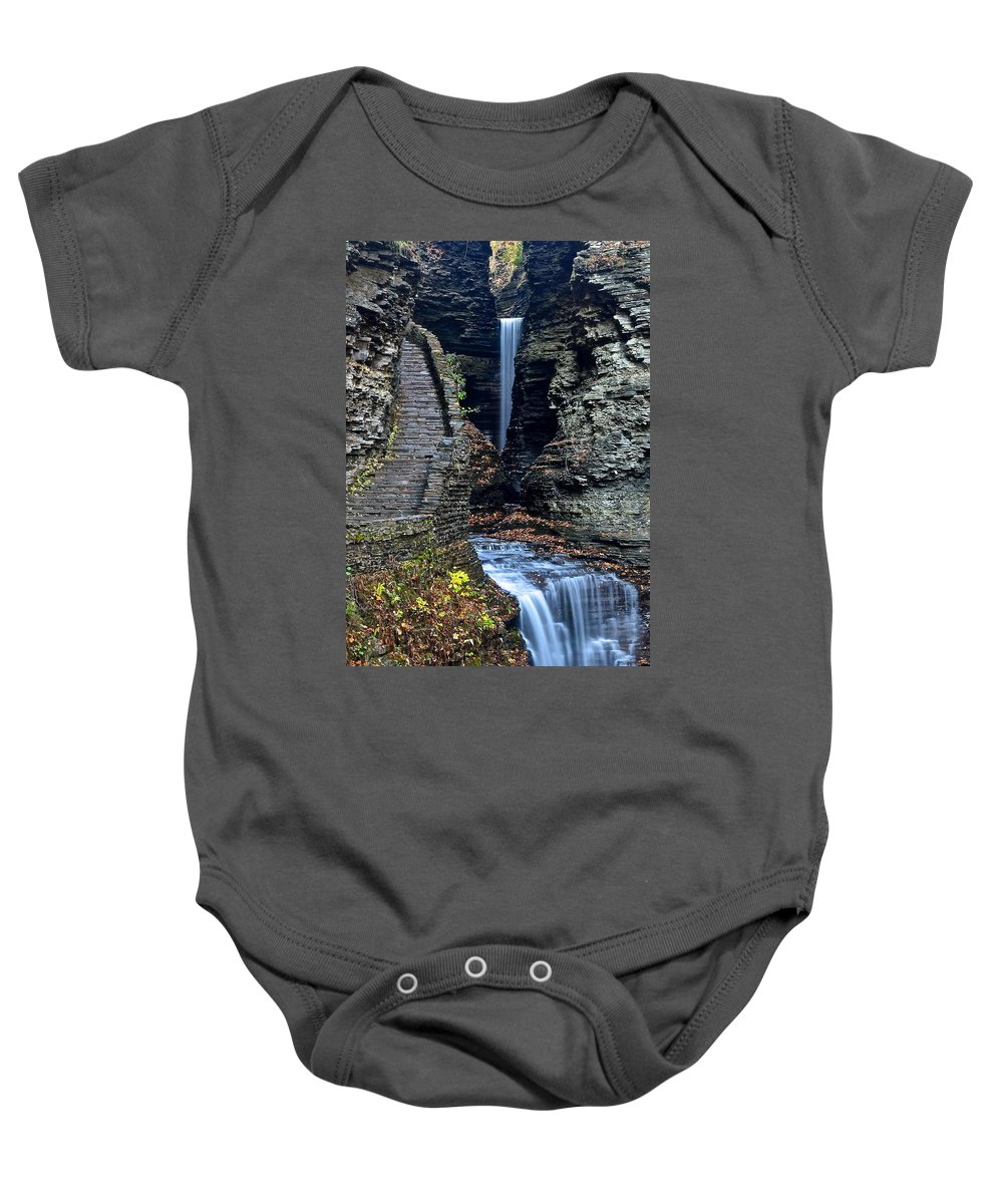 Watkins Baby Onesie featuring the photograph Watkins Glen Central Cascade by Frozen in Time Fine Art Photography