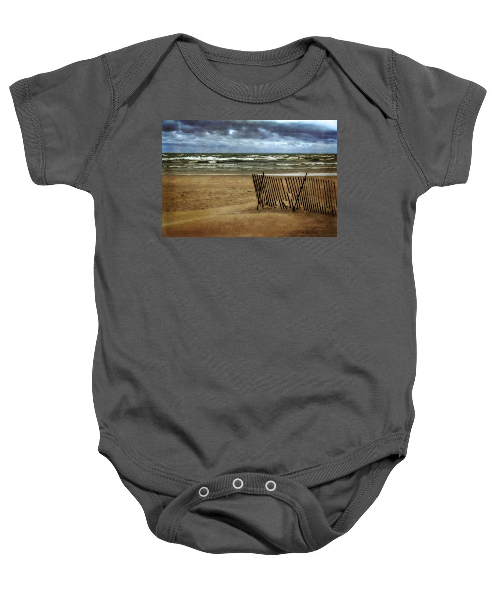 Blue Baby Onesie featuring the photograph Waves And Clouds by Michelle Calkins