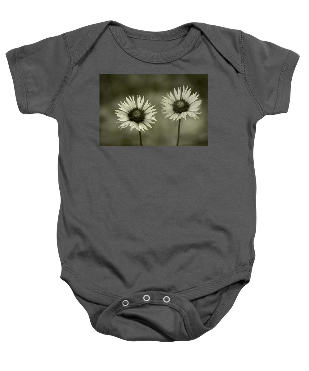 Two Of A Kind Baby Onesie featuring the photograph We Are Two Of A Kind by Fran Riley