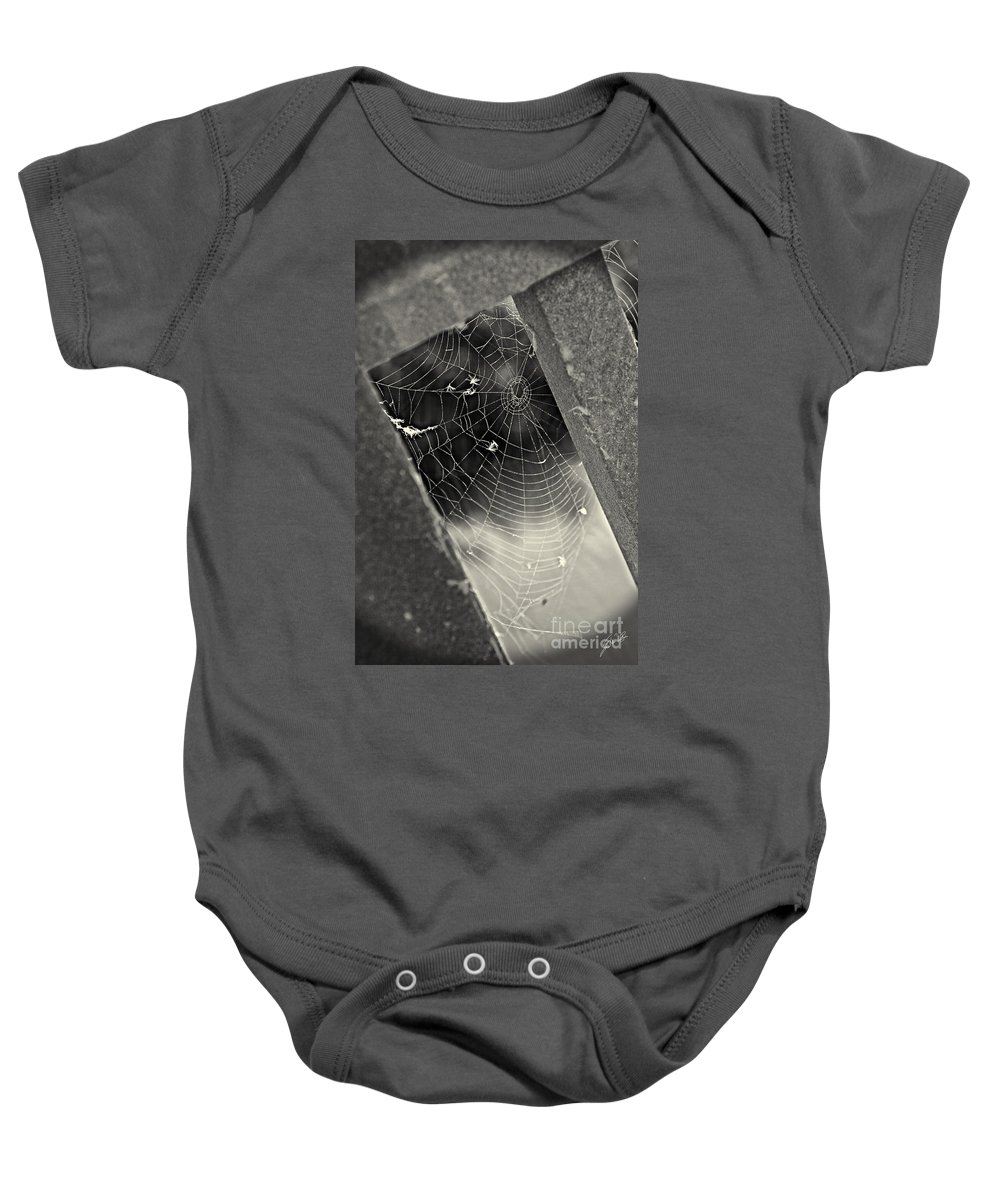 Geometric Web Baby Onesie featuring the photograph Web by Erika Weber