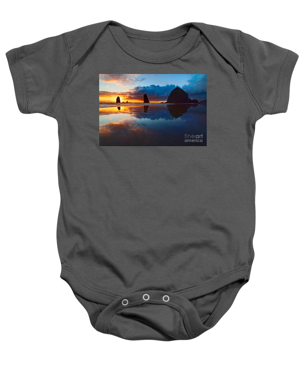 Cannon Beach Baby Onesie featuring the photograph Wet Paint - Sunset In Oregon by Jamie Pham