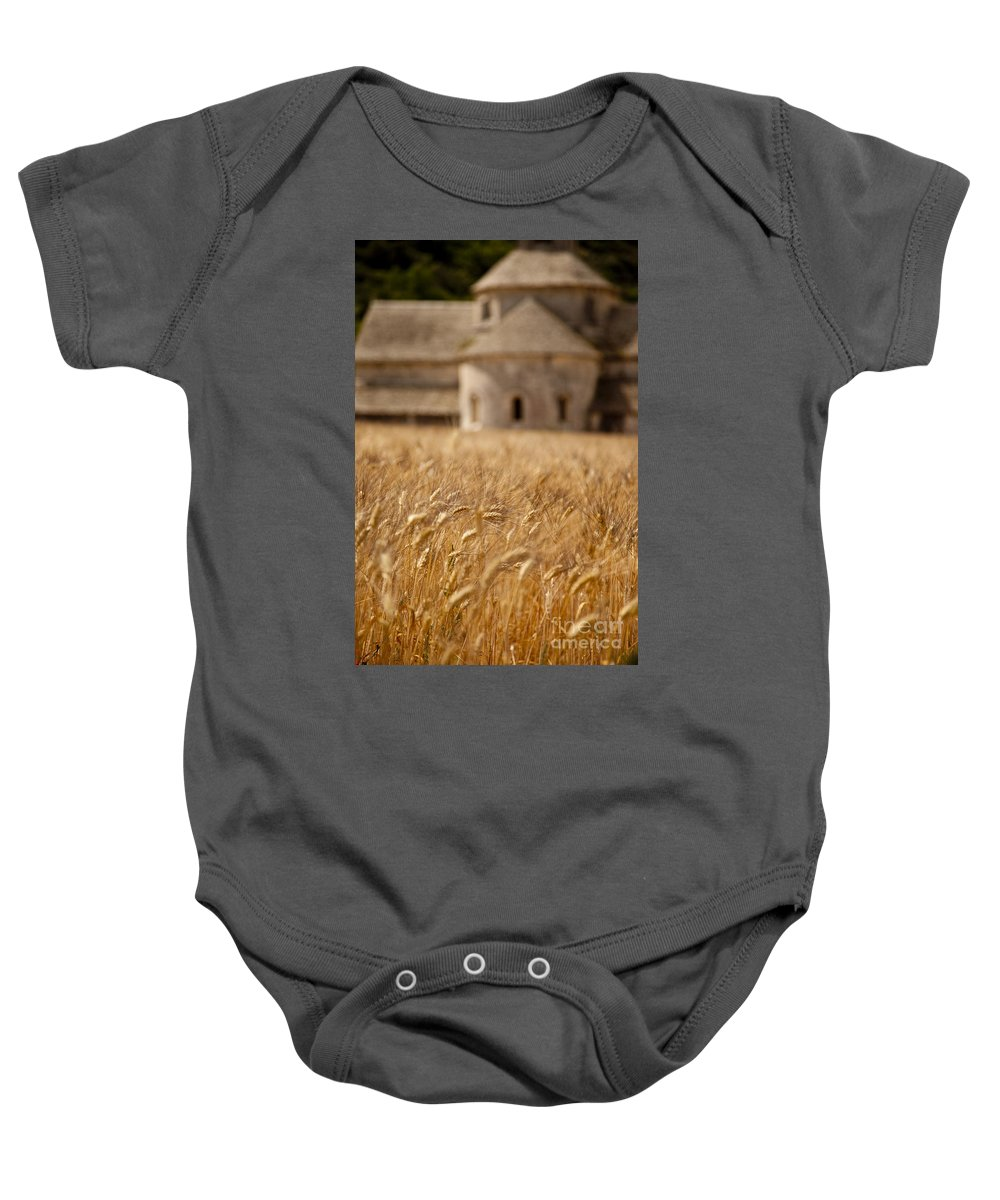 Abbaye De Senanque Baby Onesie featuring the photograph Wheat At The Abbaye by Brian Jannsen